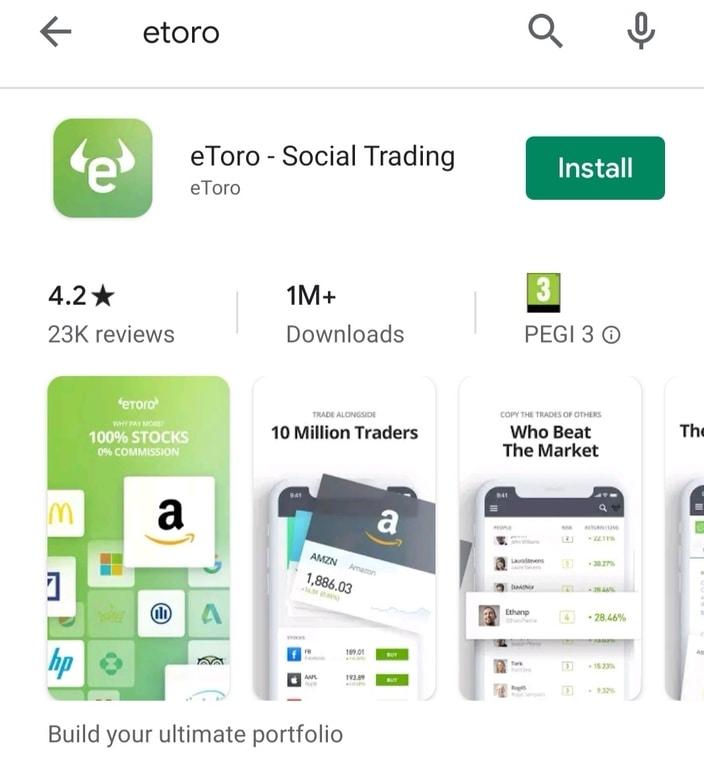 App de eToro en Google Play Store