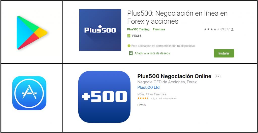 App móvil Plus500
